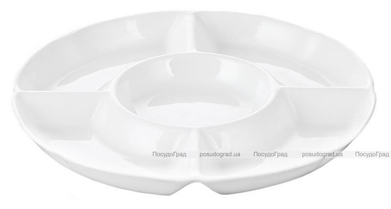 Набор 6 менажниц Helfer на 4 секции Ø19см белые, фарфор