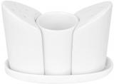Набор спецовников Helfer солонка, перечница и емкость для зубочисток на подставке белые, фарфор