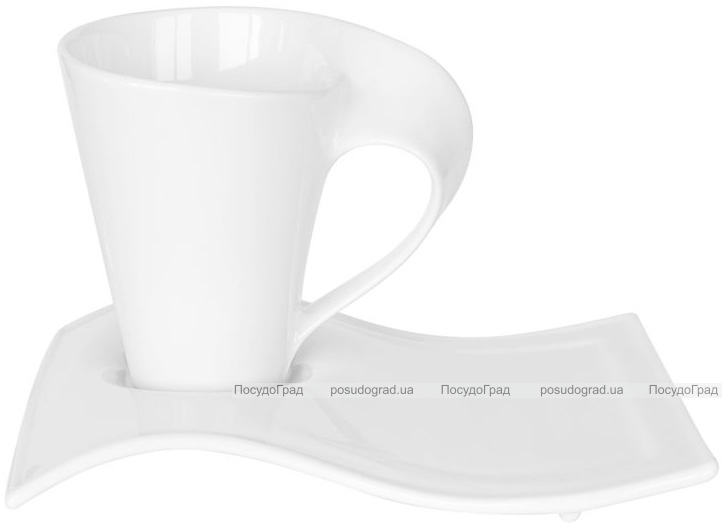 Набор 6 чашек Helfer Wave 220мл (Ø8х10.5см) с блюдцами 20х6см белые, фарфор