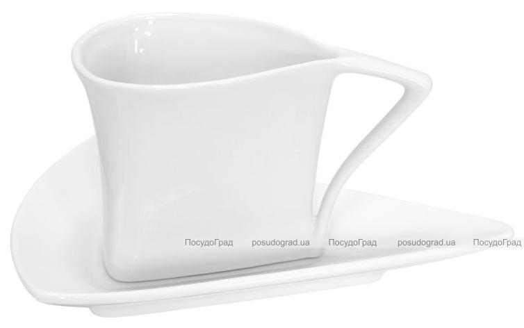 Набор 12 треугольных чашек Helfer 160мл с блюдцами 7.5см белые, фарфор