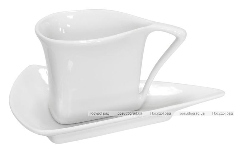 Набор 12 треугольных чашек Helfer 80мл с блюдцами 5.5см белые, фарфор