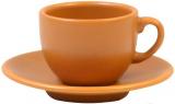 Кавовий набір Keramia Теракота 6 чашок 95мл з блюдцем, кераміка