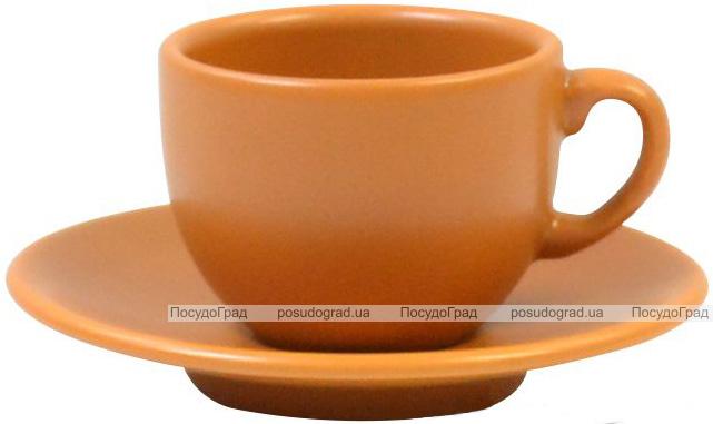 Кофейный набор Keramia Терракота 6 чашек 95мл с блюдцем, керамика