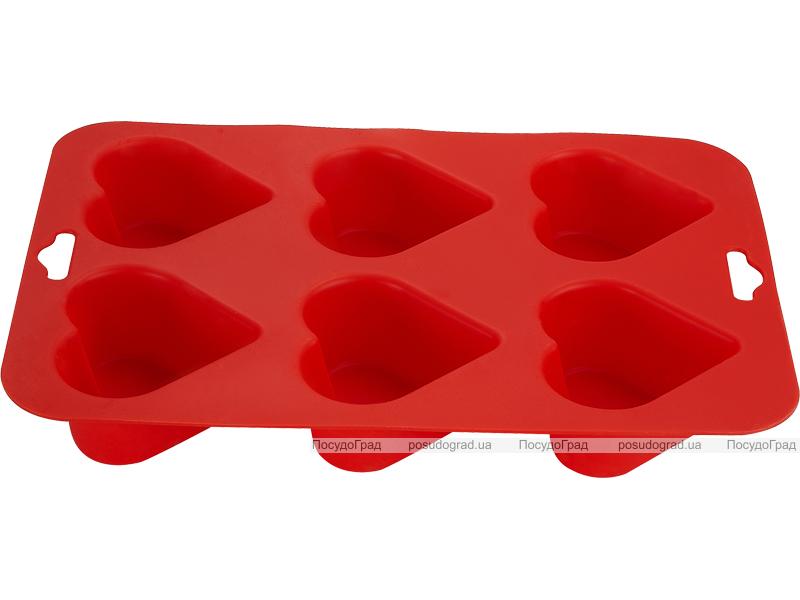 Силиконовая форма для выпечки Kaiserhoff 1153 6 кексов-сердечек