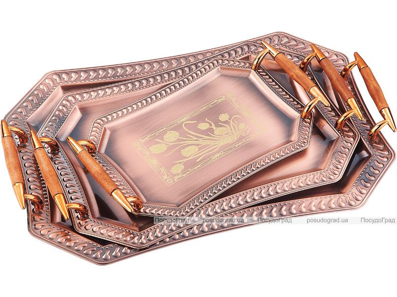 Подносы сервировочные Kaiserhoff 1745 Золотой тюльпан 3 подноса