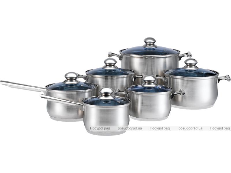 Набор кухонной посуды Kaiserhoff Standard 12 предметов синие крышки