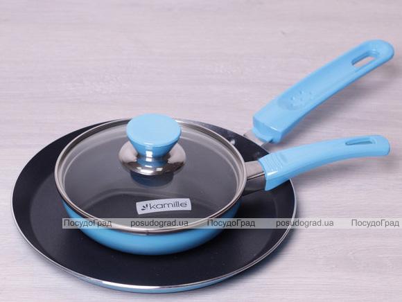 Набор сковорода блинная Kamille Colorful Kitchen Ø22см и сковорода Ø14см с крышкой