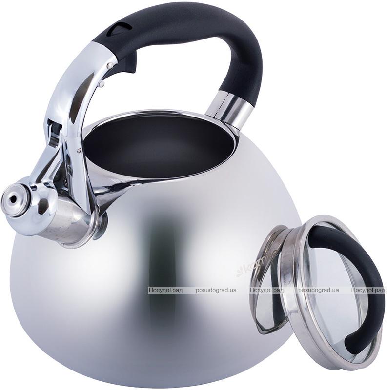 Чайник Kamille Whistling Kettle 2.8л из нержавеющей стали со свистком и стеклянной крышкой