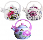 Чайник эмалированный Kamille Spring Flowers 2.5л со свистком