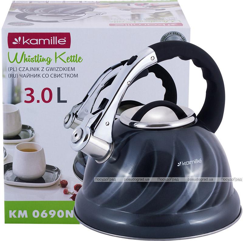 Чайник Kamille Marshmallow 3л з нержавіючої сталі зі свистком, сірий