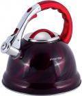 Чайник Kamille Marshmallow 3л з нержавіючої сталі зі свистком, червоний