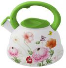 Чайник эмалированный Kamille Spring Flowers 3.3л салатовая ручка