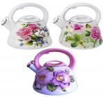 Чайник эмалированный Kamille Spring Flowers 2.8л со свистком