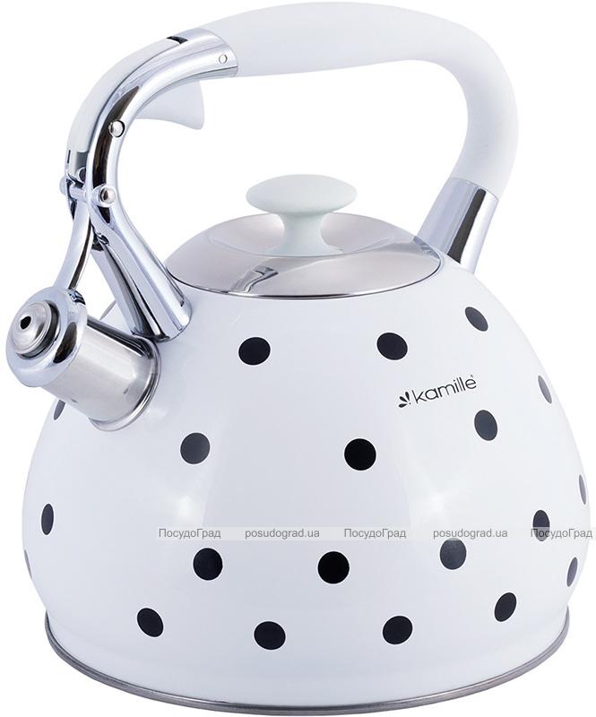 Чайник Kamille Polka Dot Kettle 3л з нержавіючої сталі зі свистком, в горошок, 3 кольори