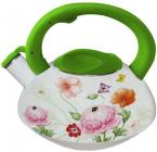 Чайник эмалированный Kamille Spring Flowers 3.0л со свистком салатовая ручка