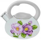 Чайник эмалированный Kamille Spring Flowers 3.0л со свистком белая ручка