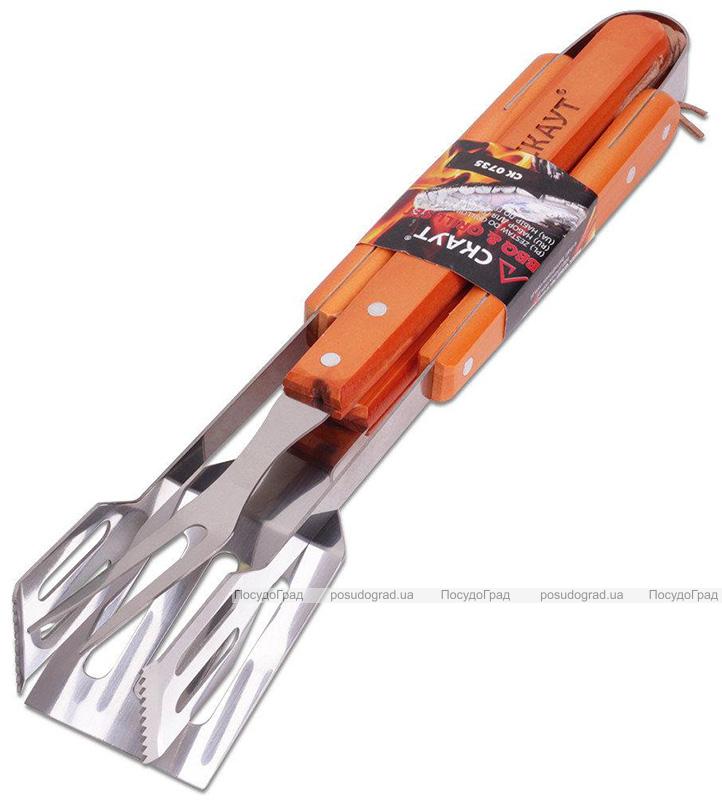 """Набор для гриля Kamille """"Скаут"""": вилка, лопатка, щипцы с деревянными ручками"""