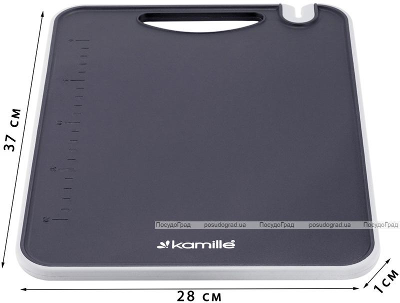 Доска разделочная Kamille Kumamoto пластиковая 37x28x0.8см с точилкой для ножей