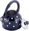 Чайник Kamille Polka Dot Kettle 2л з нержавіючої сталі зі свистком, в горошок, чорний