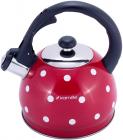 Чайник Kamille Polka Dot Kettle 2л з нержавіючої сталі зі свистком, в горошок, червоний