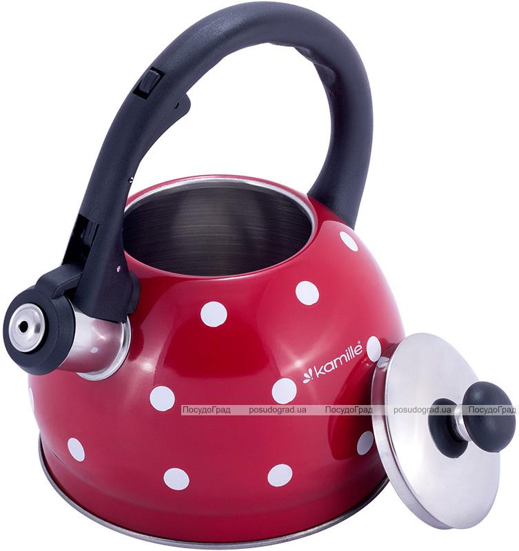 Чайник Kamille Polka Dot Kettle 2л из нержавеющей стали со свистком, в горошек, красный