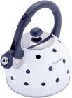 Чайник Kamille Polka Dot Kettle 2л з нержавіючої сталі зі свистком, в горошок, білий
