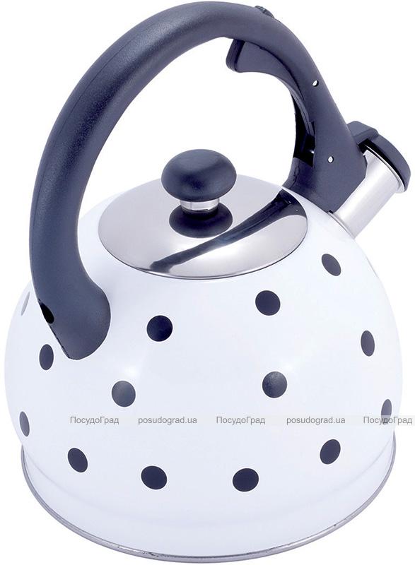 Чайник Kamille Polka Dot Kettle 2л из нержавеющей стали со свистком, в горошек, белый