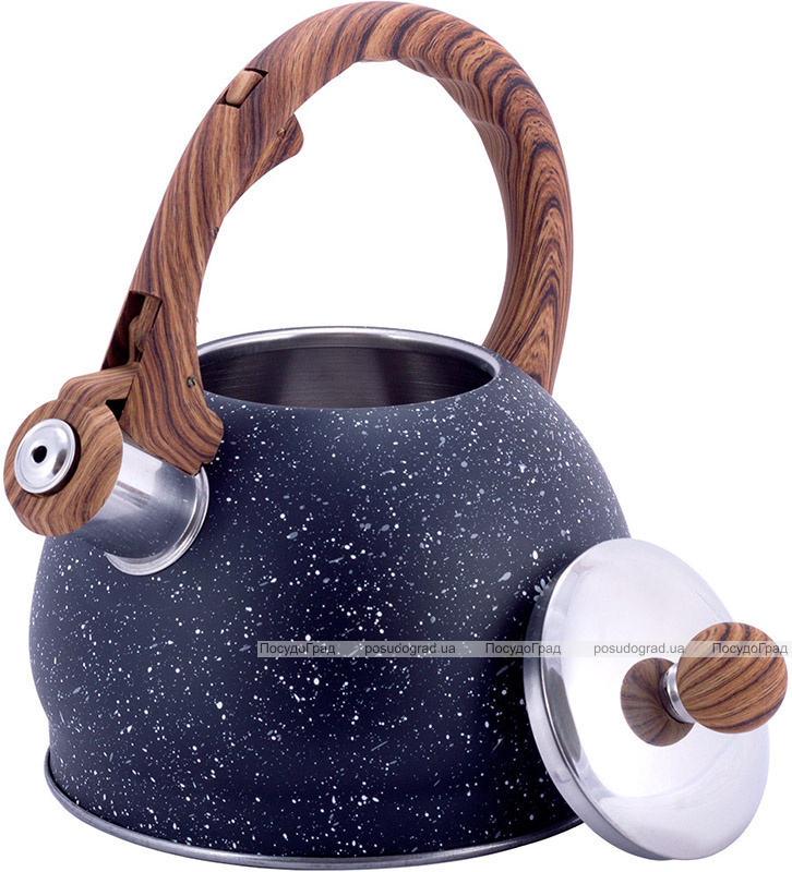 Чайник Kamille Whistling Kettle Marble 2л з нержавіючої сталі зі свистком, чорний мармур