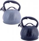 Чайник Kamille Whistling Kettle Marble 3л из нержавеющей стали со свистком (черный, серый мрамор)