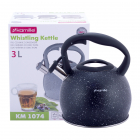 Чайник Kamille Whistling Kettle 3л из нержавеющей стали со свистком, черный мрамор