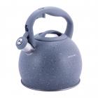 Чайник Kamille Whistling Kettle 3л из нержавеющей стали со свистком, серый мрамор