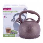 Чайник Kamille Whistling Kettle 3л з нержавіючої сталі зі свистком, коричневий мармур