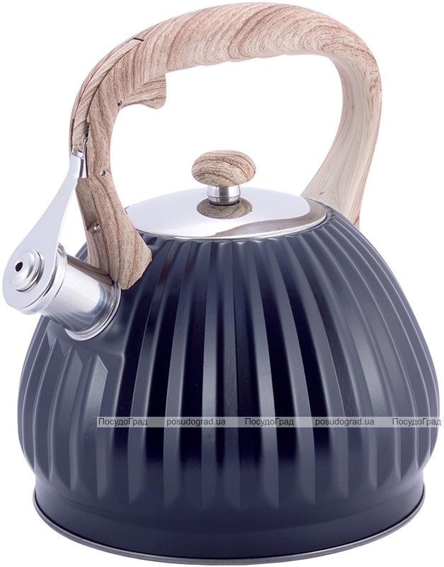 Чайник Kamille Whistling Kettle Black 3л из нержавеющей стали со свистком, черный