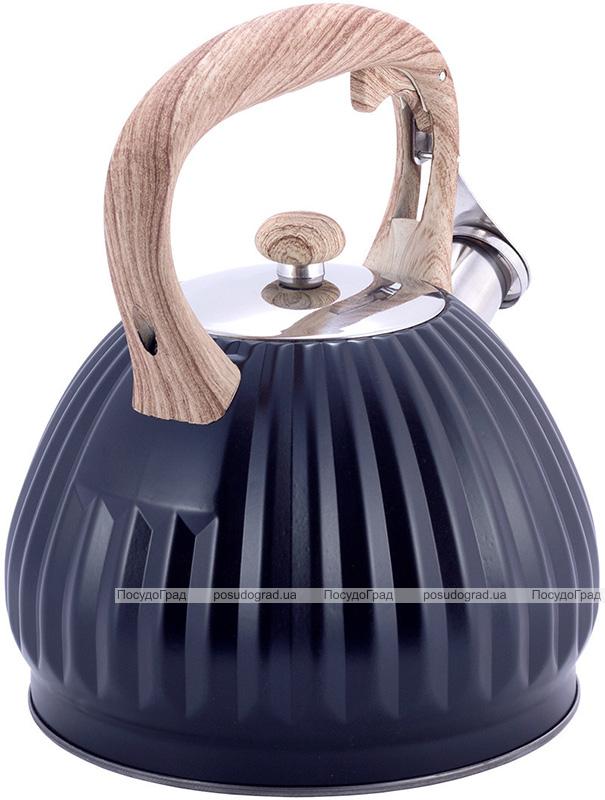 Чайник Kamille Whistling Kettle Black 3л з нержавіючої сталі зі свистком, чорний