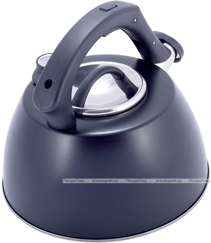 Чайник Kamille Whistling Kettle Thermo 3л з нержавіючої сталі зі свистком і термометром, чорний