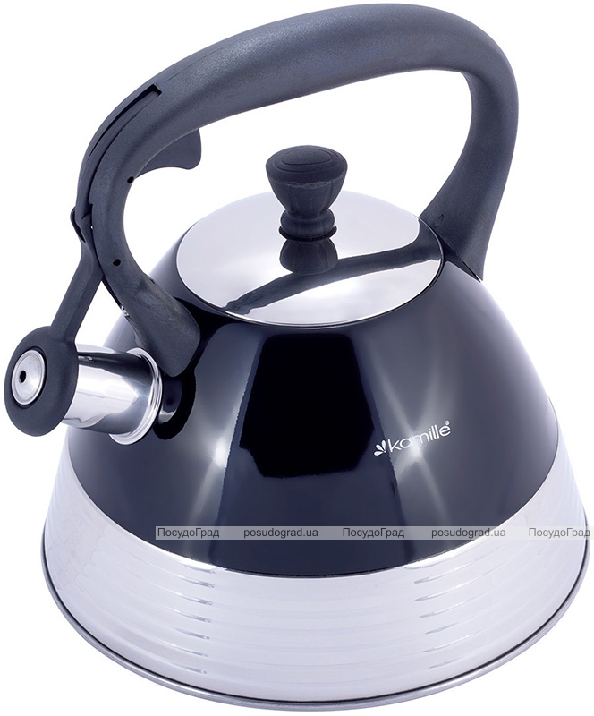 Чайник Kamille Whistling Kettle Black 3л из нержавеющей стали со свистком