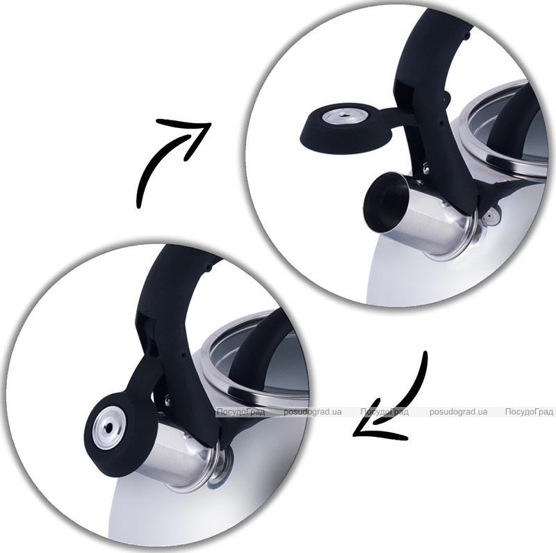 Чайник Kamille Whistling Kettle 2.7л з нержавіючої сталі зі свистком і скляною кришкою (чорна ручка)