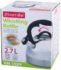 Чайник Kamille Whistling Kettle 2.7л из нержавеющей стали со свистком и стеклянной крышкой (черная ручка)