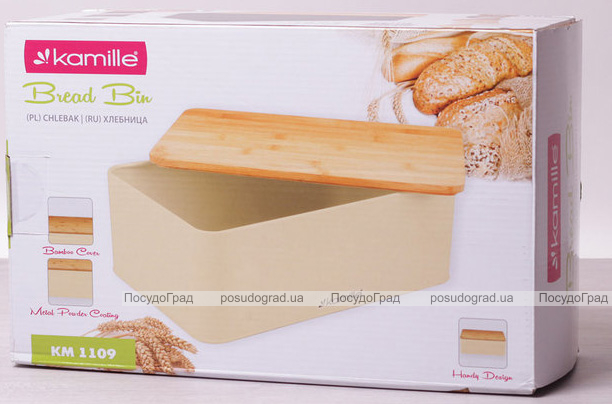 Хлебница Kamille Breadbasket Steel&Bamboo 33х21см из нержавеющей стали