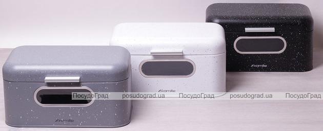 """Хлібниця Kamille Breadbasket Steel 30х19.5см з нержавіючої сталі з """"віконцем"""""""