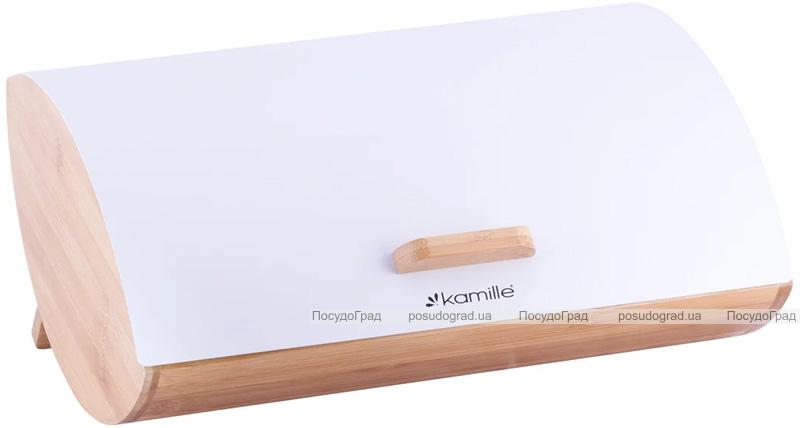 Хлібниця Kamille Breadbasket Wooden Openwork 35х25х16см бамбукова зі сталевою кришкою