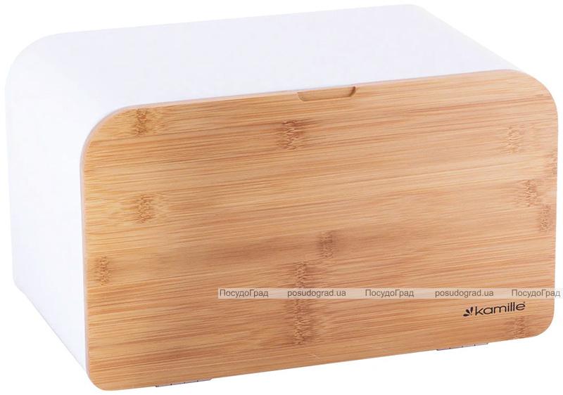 Хлебница Kamille Breadbasket Steel&Bamboo 35х21х21см из нержавеющей стали