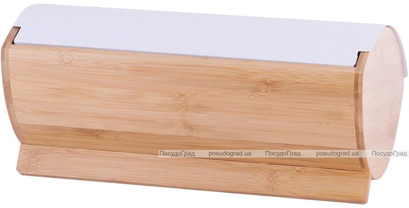 Хлібниця Kamille Breadbasket Wooden 35х25х16см бамбукова з набором ємностей для крупи (білі)
