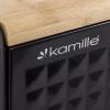 Хлібниця Kamille Breadbasket Wooden Openwork 36х22х20см бамбукова зі сталевою кришкою (чорна)