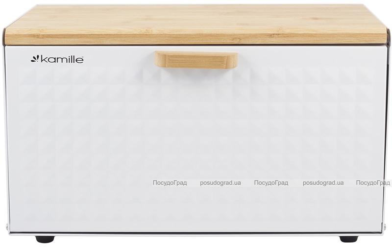 Хлібниця Kamille Breadbasket Wooden Openwork 36х22х20см бамбукова зі сталевою кришкою (біла)