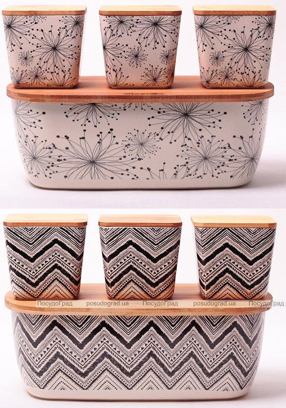 Хлебница Kamille 36х20.2 из бамбукового волокна + 3 емкости для хранения