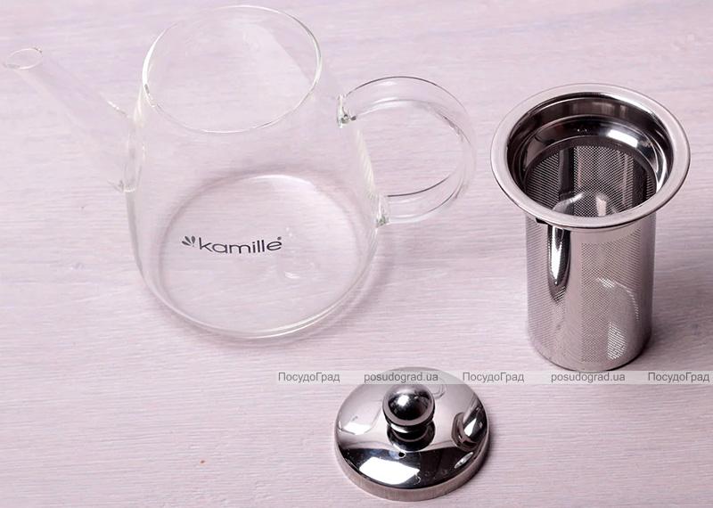 Чайник заварочный Kamille Angeret 600мл стеклянный со съемным ситечком