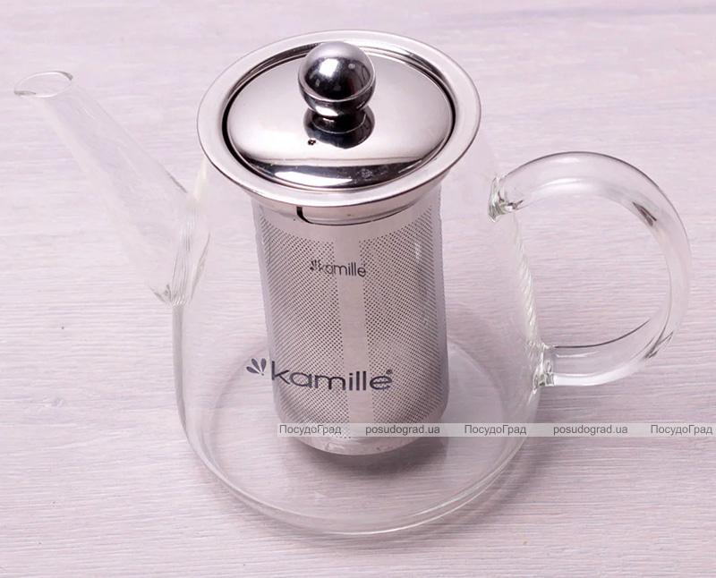 Чайник заварочный Kamille Angeret 900мл стеклянный со съемным ситечком