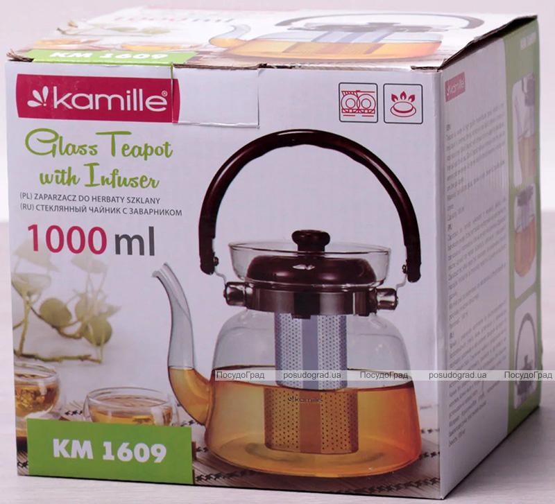 Чайник заварювальний Kamille Orlate 1000мл скляний зі знімним ситечком