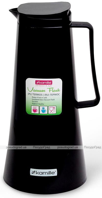 Термос Kamille Glass Jug 1000мл зеркальная колба, black&white